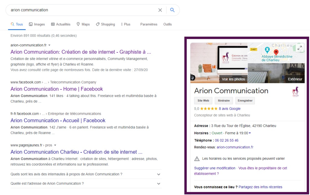 résultats de recherche sur Google avec une fiche