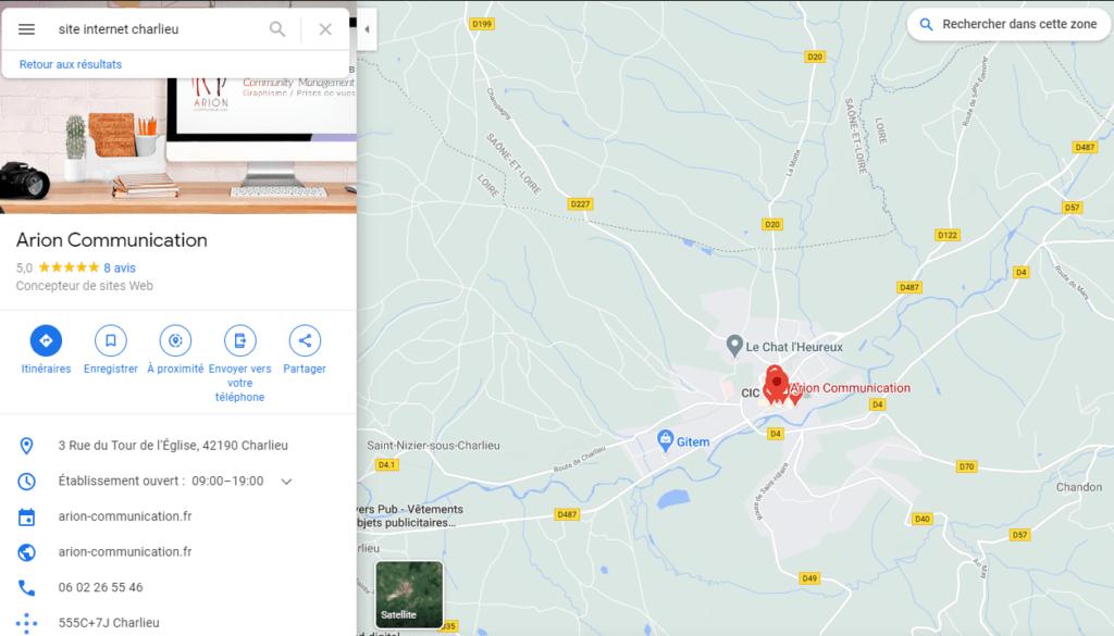 résultat d'une fiche google my business sur maps